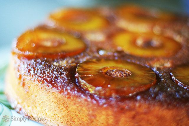 Pineapple Upside Down Cake ~ The best pineapple upside down cake recipe ever. No kidding. Caramel topping with pineapple rounds over a dense cake with almond flour. ~ SimplyRecipes.com