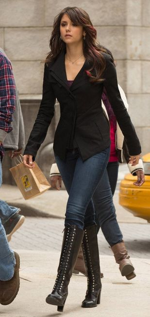 Elena Gilbert and Charles David Regiment Lace-Up  Knee Boots Photograph