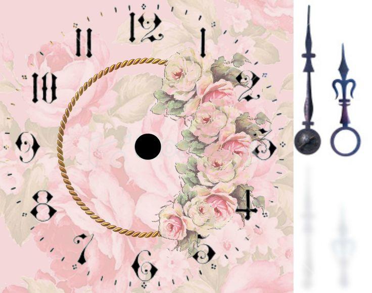 Ziffernblatt und Zeiger, Uhr. Clock face, Reloj con flores