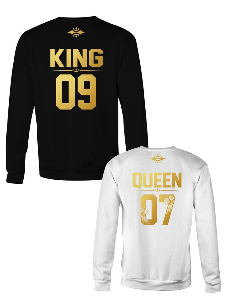 KING and QUEEN crewneck sweatshirt ★ the Golden Royalty Collection ★ KING QUEEN sweater, Matching couples jumper, warm sweatshirts for couples - golden letters with flower design on the queen sweatshirt, romantic gift ideas, engagement photoshoot, anniversary gift idea, couples anniversary, newlywed gifts