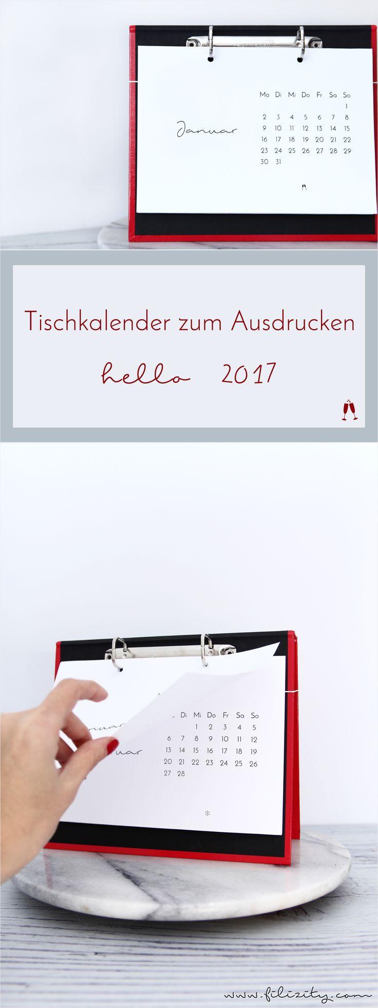 Minimalistischer Tischkalender für 2017. Mit der kostenlosen Druckvorlage und dem DIY Kalenderbrett setzt ihr stylische Akzente auf eurem Schreibtisch. #kalender #printable #diy