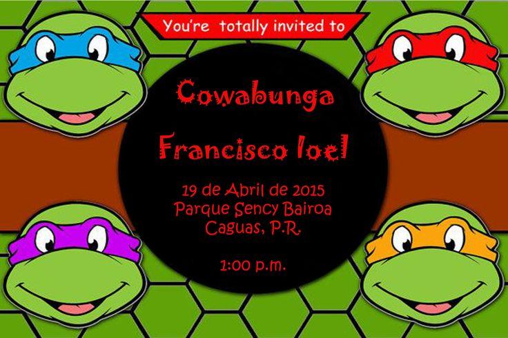 teenage mutant ninja turtles birthday party invitations | acelink,