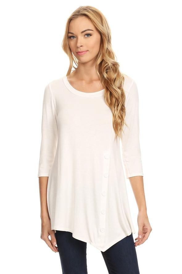 6ce359094f1073 Womens White Tunic Top Long Asymmetric Side Button Shirt  S M L 1XL - MomMe  and More