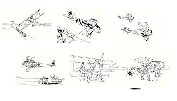 Avions de la WW1 - Fokker, Albatros, Aviatik - illustration david voileaux copyright
