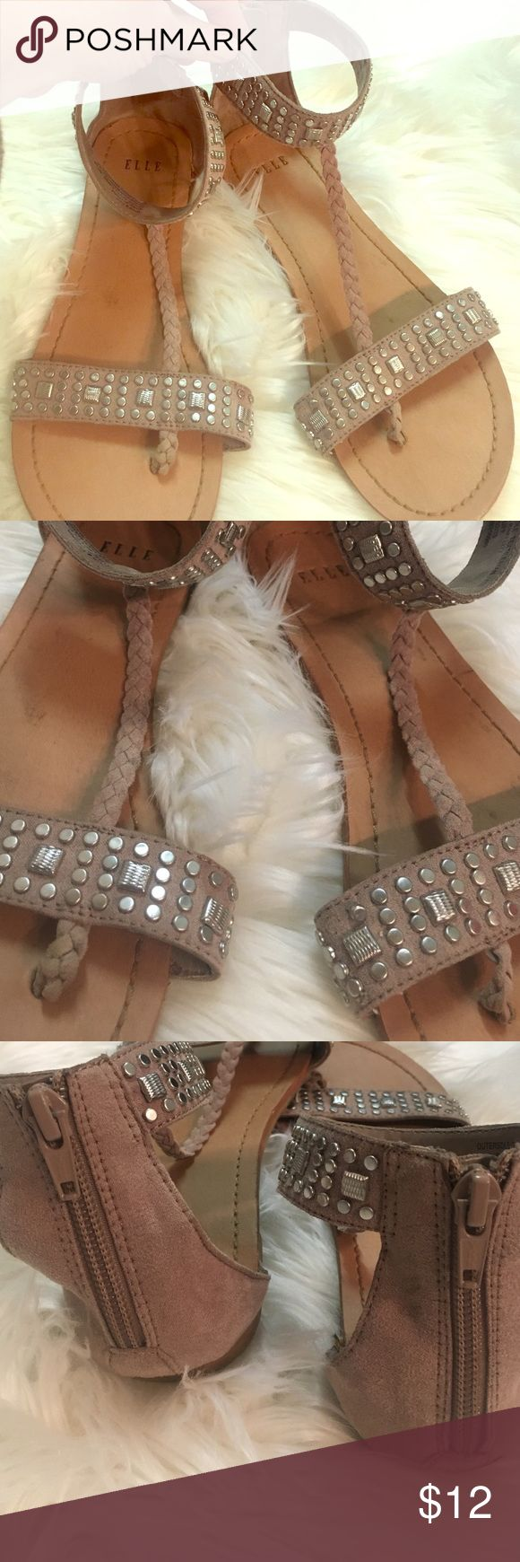 ELLE gladiator braided studs tan sandals size 6.5 Super cute tan gladiator sandals! Perfect accents with silver metal studs across toes and around ankles along with a braid that goes up your foot! One circle stud is missing off of left sandal- otherwise in very good condition. From smoke free home ❤ ELLE Shoes Sandals
