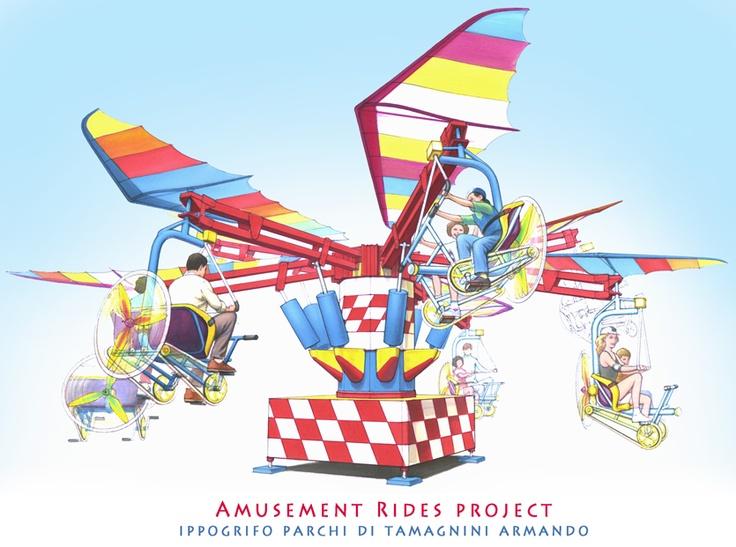 """Family Ride: """"Magic Bike"""" ideato per la ditta Zamperla S.p.A.  Disegno di presentazione   (tecnica: Pantoni Tria su carta)"""