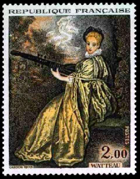 timbres de france/timbre france 1973 - 1765 - La Finette, tableau de Antoine Watteau - Serie oeuvres d art.jpg