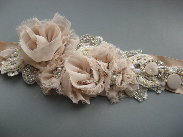 Wedding bridal sash belt Vintage Nude Terracotta Ivory romantic - corsage dress ribbon belt rustic accessory lace pearls rhinestone crystals. $124.00, via Etsy.
