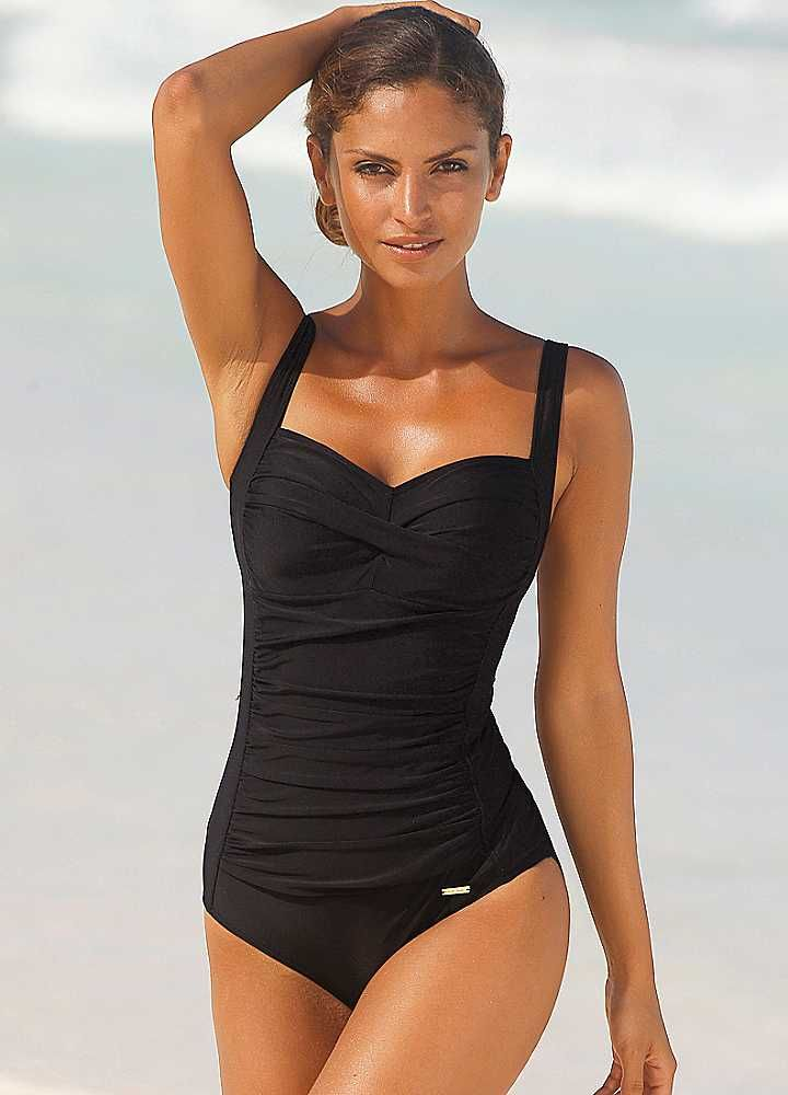 Swimsuits for Over 50 | LASCANA Black Cup-Cross Swimsuit | Swimsuits | Womens | Swimwear365