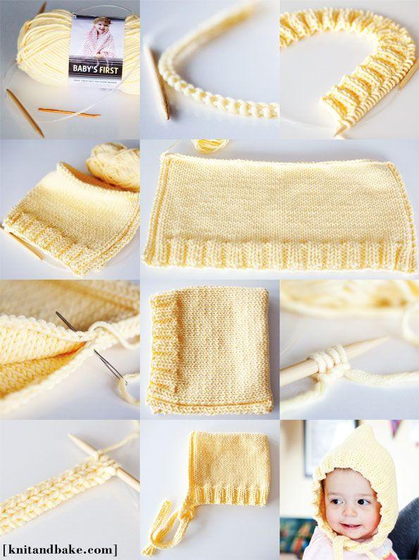 [ knitandbake.com ] Kyla's Hoodie - Easy Baby Bonnet Knitting Pattern <3    http://www.knitandbake.com/2012/02/27/kylas-hoodie-easy-baby-bonnet-knitting-pattern/