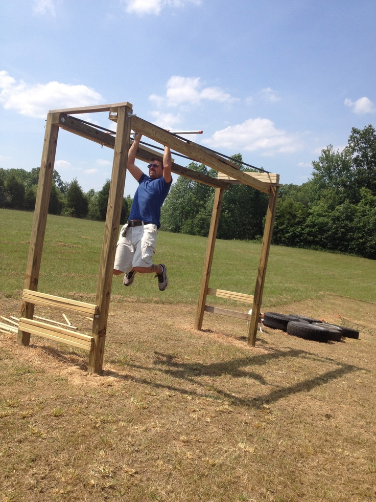 Backyard American Ninja Warrior Course : Pipe Slider (across the top of the Worlds Most Versatile Monkey Bars