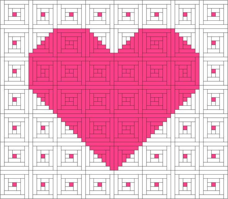 Idea For Quilt Log Cabin Pink Heart Log Cabin Pinterest