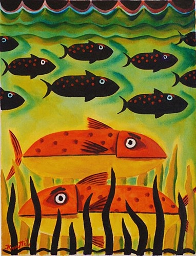 "Graham Knuttel ""Sleeping with the Fishes"" #fish #art #painting #sea #GrahamKnuttel #DukeStreetGallery #acrylic"