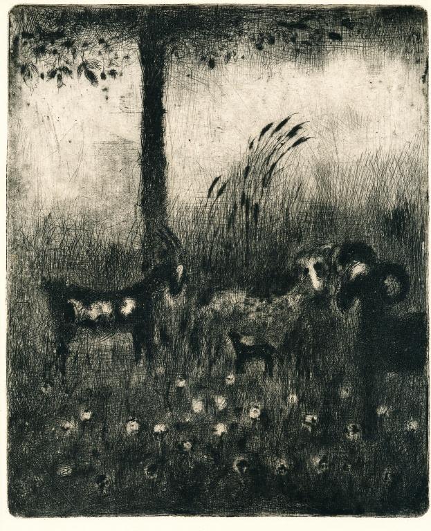 REYNEK, BOHUSLAV (1892 - 1971). Na pastvě, nedat., suchá jehla, 220 x 180, nesign. (krásný, sytý tisk.) cena vyvolávací cena:2.500,- konečná cena:3.340,- V této ceně je započítána přirážka 15% přiklepnuto dražiteli 1817