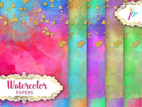 Watercolor Paper Digital Download gold confetti diamond gold
