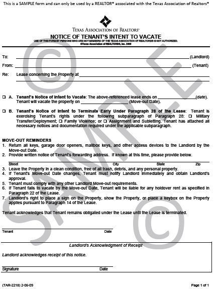 Printable Sample Eviction Notice Texas Form Real Estate