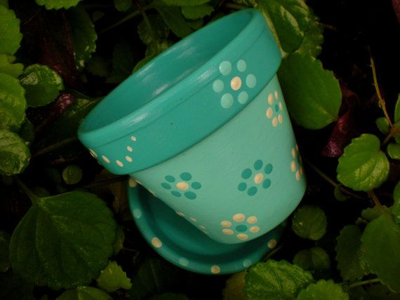 Painted Flower Pot in Ocean Blues by HappyMooseGardenArt on Etsy, $7.50