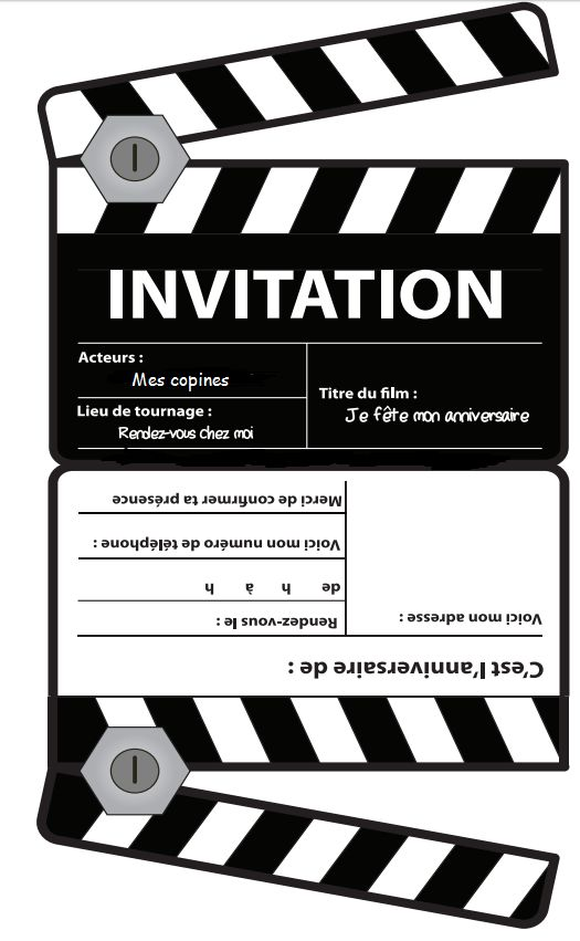 invitation anniversaire cinema hollywood