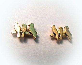 Minimalist jewelry/bird earrings/ little bird earrings/ minimalist earrings/small earrings/ harajuku/fairy key earrings/ little birdie