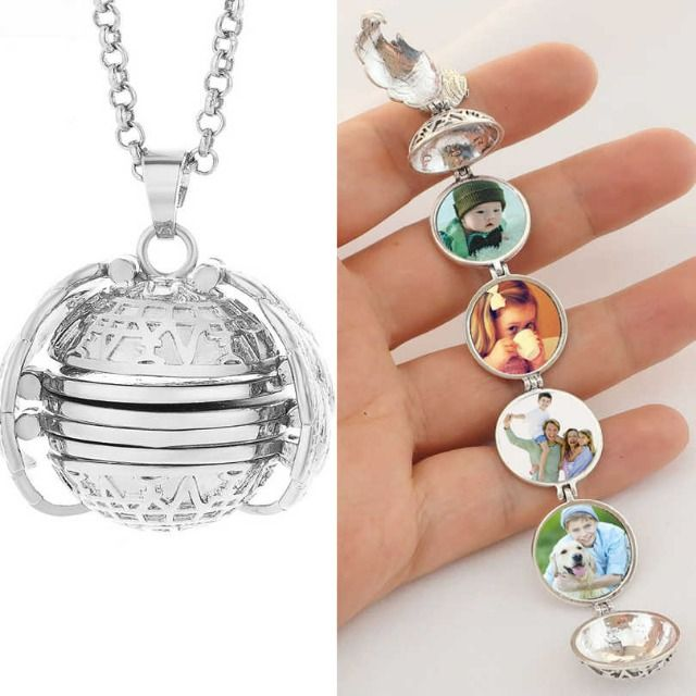 Expanding Photo Locket Necklace Pendant Chain Angel Wings Women Girls Jewelry Gift by Keepfit