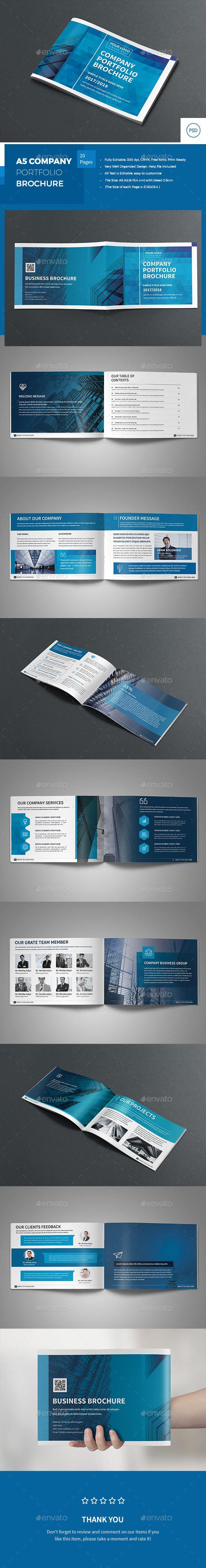 A5 Company Portfolio Brochure - #Corporate #Brochures Download here: https://graphicriver.net/item/a5-company-portfolio-brochure/19727856?ref=alena994