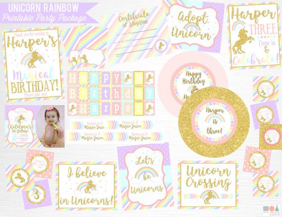 Unicorn Rainbow Birthday Party Printable Package YOU Print Pastel Pink Gold  This is an example of what we can do, if you want to add/subtract items from this package just drop us a line!  This package includes:  5x7 Invitation (can be done with or without photo) Door Welcome Sign 8x10 Cupcake Toppers (pictured as square, can be popped *by you* with a 2 circle or scallop punch) Please Take One sign 8x10 Favor Tags (pictured as square, can be popped *by you* with a 2 circle or scallop pun...