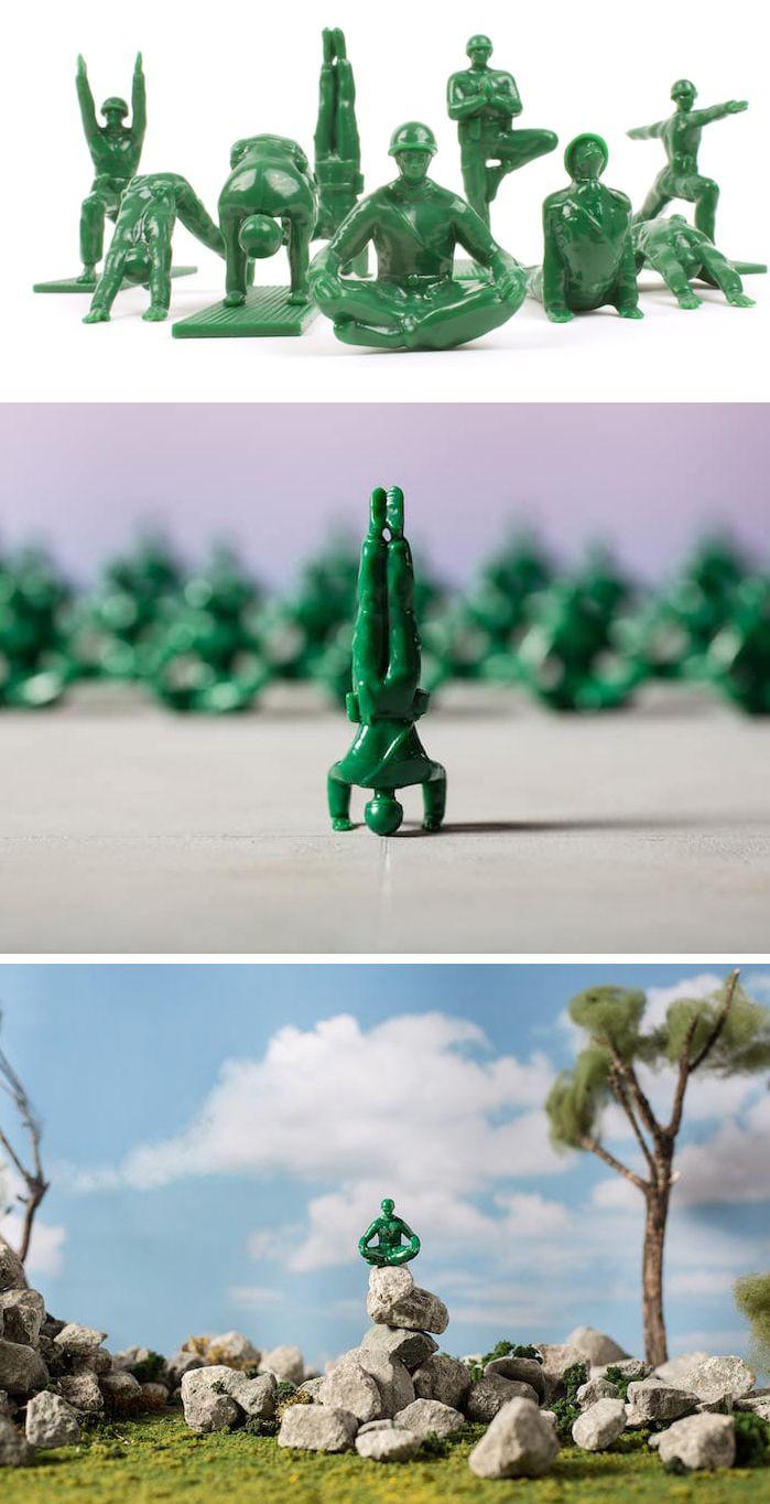 Remember little green army men toys? Dan Abramson has reimagined them as yogis.