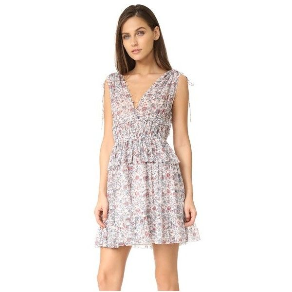Ulla Johnson Noelle Dress (1,850 SAR) ❤ liked on Polyvore featuring dresses, porcelain, metallic mini dress, short graduation dresses, floral dresses, pink ruffle dress and short dresses