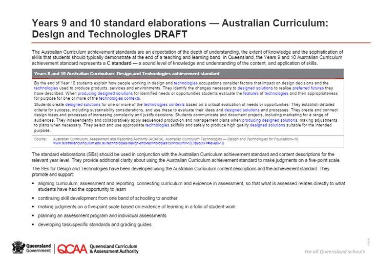 Years 9 and 10 standard elaborations — Australian Curriculum: Design and Technologies DRAFT