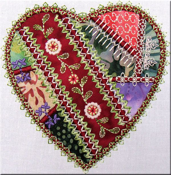 Crazy Quilt Embroidery By Machine Simply Crazy Hearts