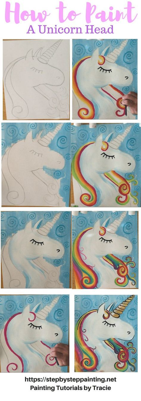 How To Paint A Unicorn - Step By Step Painting. Tracie's Acrylic Painting Tutorials. Learn how to draw and paint a unicorn. Easy, simple, fun for beginners. #stepbysteppainting #unicorn