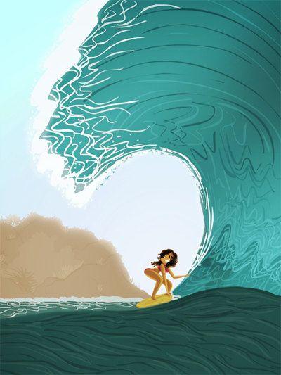"Surfing Art, Hawaiian, Hawaii Print, Ocean Art, Wave, Surf, Ocean, Surfer Girl - ""Rolling in the Deep"" - Art Print 13x19. $32.00, via Etsy."