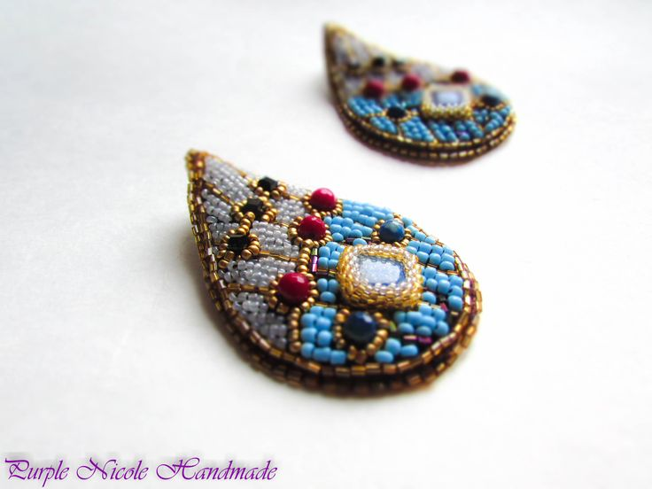 Hatshepsut - Egyptian Handmade Statement Beaded Earrings by Purple Nicole (Nicole Cea Mov) inspired by the Egyptian Queen Hatshepsut and egyptian colored jewelry. Materials: 2 mm glass gold beads, light blue, turquoise, jade spheres, agate spheres, lapis lazuli geometrical beads, 11/0 toho topaz beads, black glass cube beads.