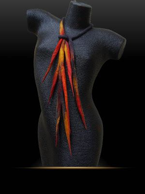 Innovative Art in Textiles: 'Firestorm' hand felted necklace'