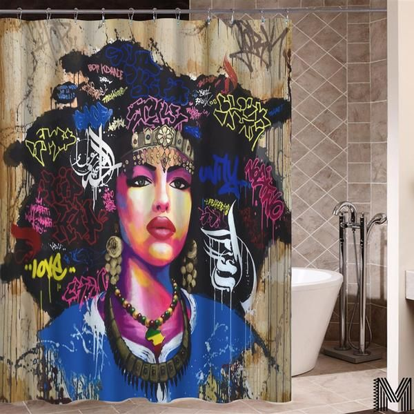 Does Your Bathroom Need Do Over Melanin Inc Shower Curtains Make The Best Gifts To Friends Family And Yours In 2020 Girls Shower Curtain Afro Shower Curtain Curtains