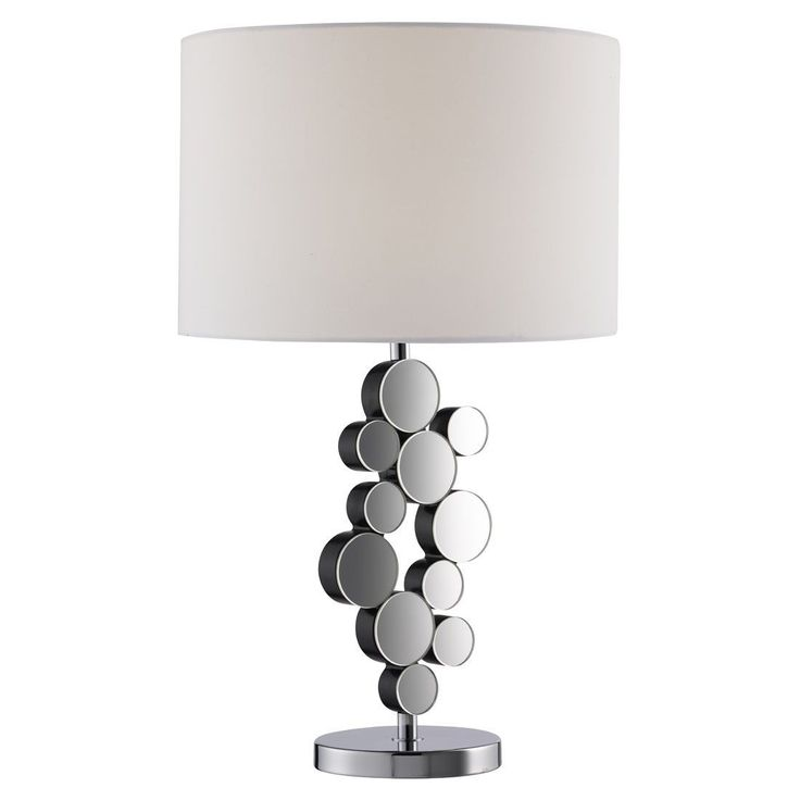 CHROME MIRRORED CIRCLES TABLE LAMP WITH ROUND WHITE FABRIC SHADE From Dushka Ltd London