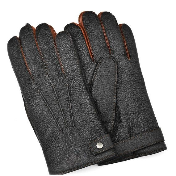 Designed and manufactured in Romania of 100% black deerskin and italian nappa leather, very soft. These classic styled men's winter gloves are the practical and stylish winter wear. The insides are lined with soft wool, providing exceptional warmth.    Deerskin leather is super soft and very durable. These beautifully made gloves are handsewn and lined with a cashmere lining. Constructed from very soft and durable deerskin and lambskin leather and carefully handsewn for a great fit.…