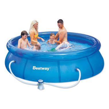Fastset zwembad 305 x 76 cm  Wil je snel even kunnen afkoelen tijdens de warme zomer? Met dit schitterende Fastset zwembad heb je een waar zwemparadijs in je eigen achtertuin waar zowel kinderen als volwassen veel waterpret in kunnen beleven!  EUR 79.99  Meer informatie
