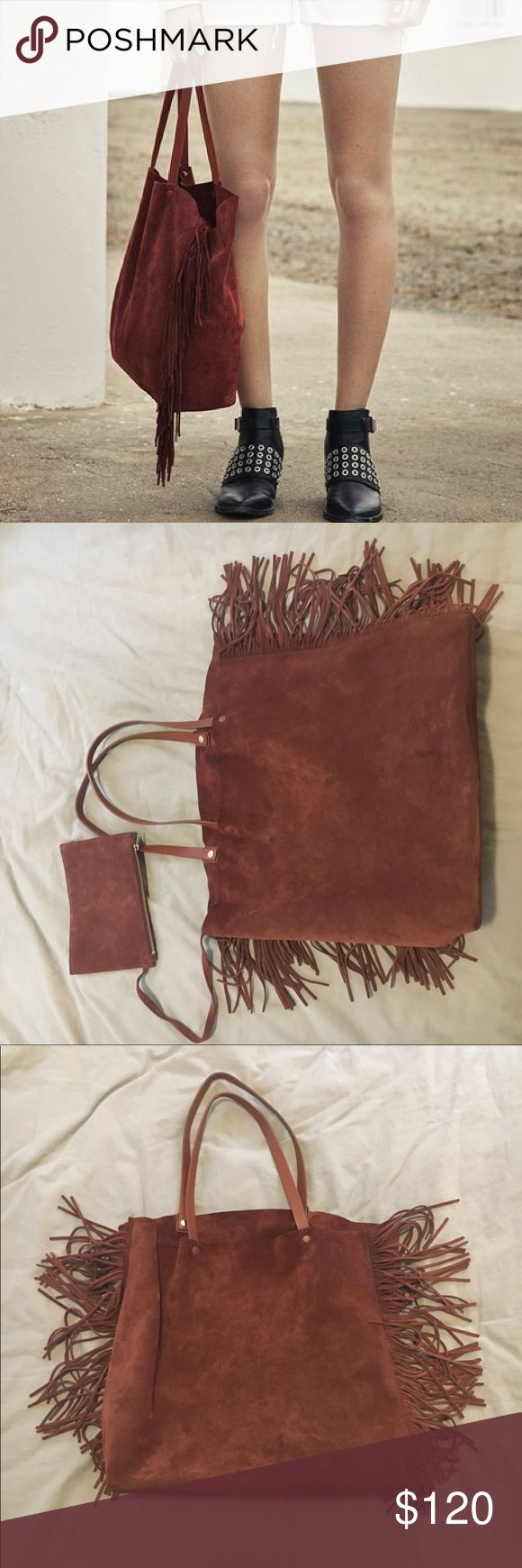 AllSaints suede tote Allsaints suede brick red color shopper. Has attached key compartment. Worn it several times. All Saints Bags Totes