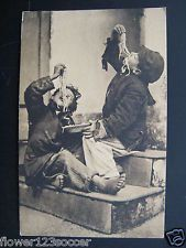 1919 Italy. Boys Eating Pasta. Napoli. Vintage Postcard, Stamp Mailed to USA, PA