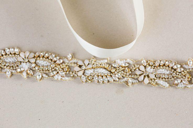 Gold and opal rhinestone enrusted bridal belt - Style R23