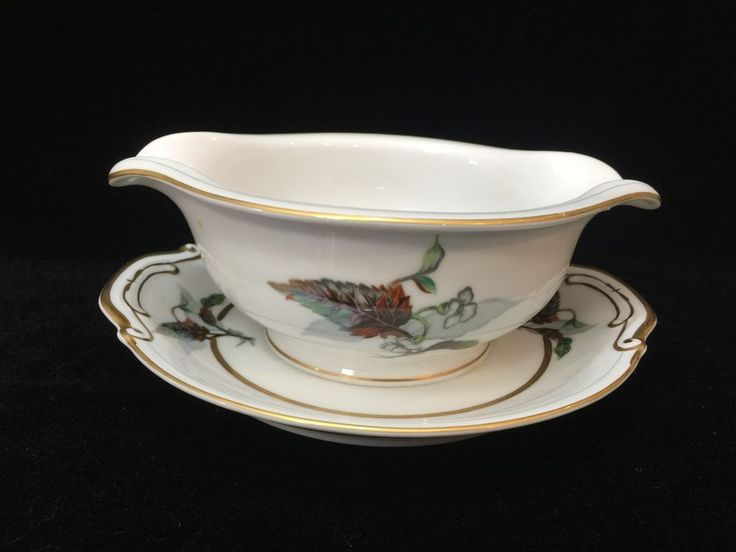 Vintage Imperial Craftsman Japan Porcelain China Begonia Gravy Boat w/Underplate #ImperialCraftsman