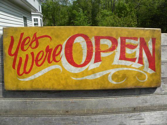 Open Sign, hand painted, faux vintage, wooden sign, antique-style lettering/colors, decor