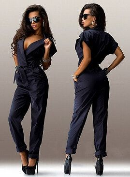 Women's 2016 Simple Style Short Sleeve Turn Down Collar Jumpsuit - 8 Colors