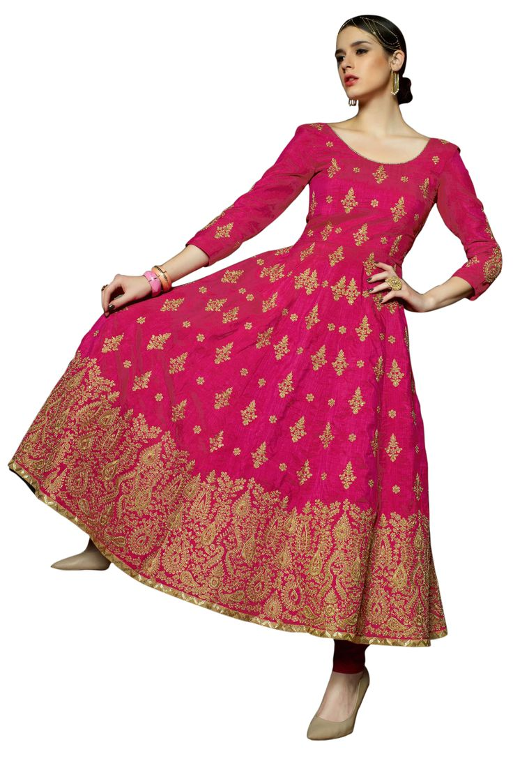 Red heavy bridal anarkali frock 7 suitanarkali in - Look Mesmerizing And Be An Absolute Diva In Hot Pink Bridal Anarkali Suit With Ready To Wear Collection From Dee S Alley