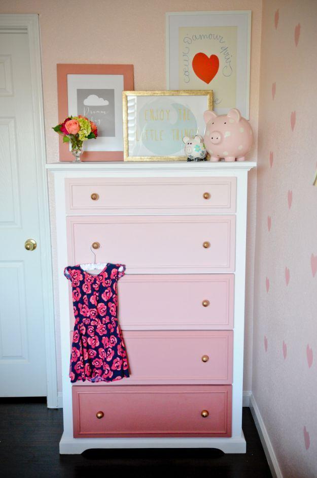 DIY Teen Room Decor Ideas for Girls   DIY Ombre Dresser   Cool Bedroom Decor, Wall Art