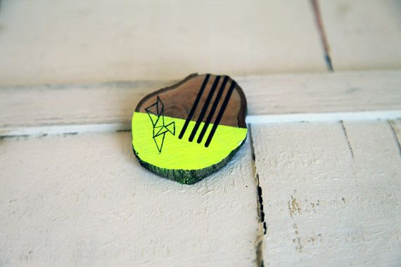 wood slice brooch handpainted neon yellow by ariannapiazzafineart, $12.00