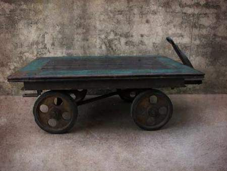 Reclaimed Industrial Trolley. Coffee Table.