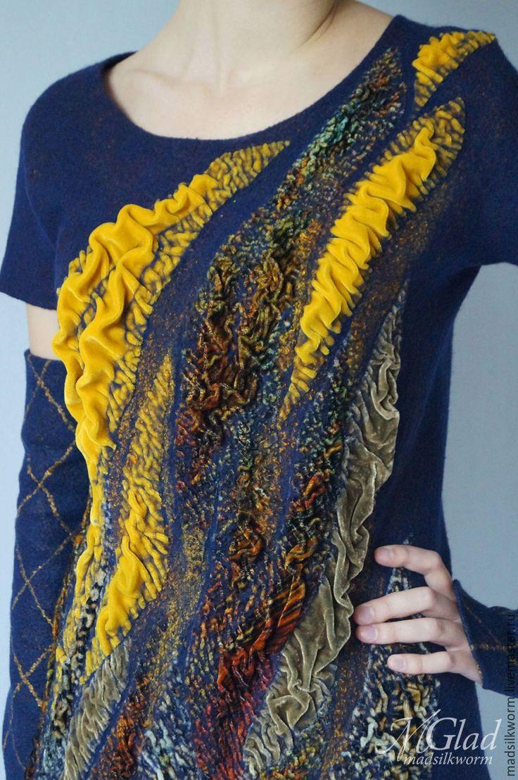 """Купить Платье """"Уютное"""" из коллекции """"Бархатный сезон"""" - нунофелтинг, костюм валяный, жакет и юбка"""