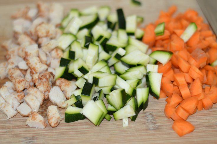 Grøntsags-muffins med kylling